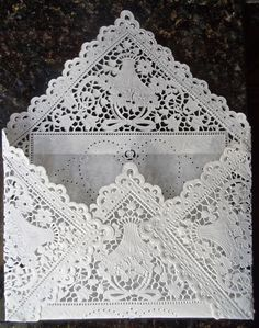 TUTORIAL and VIDEO using doilies for DRESS and ENVELOPE. Could work with lace or other fabric. Origami Wedding Dress Card