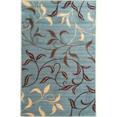 Ottomanson Ottohome Contemporary Leaves Non-Skid Modern Rugs Available In Multiple Colors And Sizes, Blue