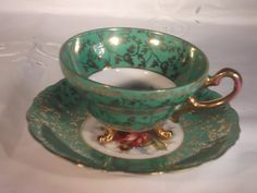 Vintage Norcrest Tea Cup & Saucer  Gold Design by RuthsthisNthat