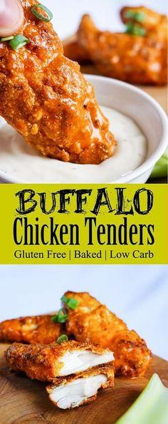 Keto Chicken Tenders Dipped in Tangy Buffalo Sauce (Keto Recipes Lchf) Ketogenic Recipes, Low Carb Recipes, Diet Recipes, Cooking Recipes, Healthy Recipes, Ketogenic Diet, Recipes Dinner, Dessert Recipes, Sauce Recipes