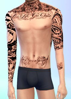 Tattoos and Sleeves for Males / Sims 4 Custom Content
