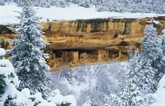 Spruce Tree House cliff dwelling in winter, Mesa at Mesa Verde National Park, Colo. (© George H.H. Huey/Corbis)