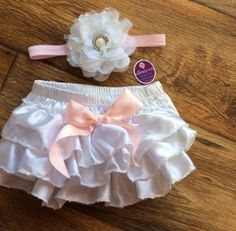Love Vintage Inspired Baby Girl White Light Pink Satin by Unikbaby, $16.00