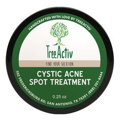 TreeActiv Cystic Acne Spot Treatment is a small, but extremely effective, natural treatment for visible blemishes with acne fighting bentonite clay & tea tree.