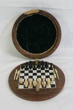 Miniature Ivory Chess Set W/ Ivory Inlaid Box