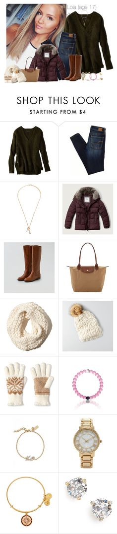 """Lola's Outfit For Sunday Family Dinner"" by teamboby ❤ liked on Polyvore featuring American Eagle Outfitters, Forever 21, Abercrombie & Fitch, Longchamp, Hollister Co., Isotoner, Kate Spade and Alex and Ani"