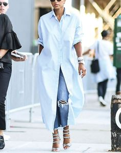 LOVE this trend!! // DRESSES OVER JEANS  Now that denim fits are more relaxed, so is the styling. Hence why we've seen a number of fashionable ladies doubling down on their proportions. An oversize shirt dress + straight-leg jeans = an outfit we'd wear every single day.