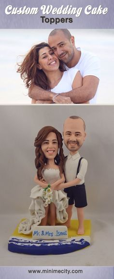 Custom Figurines From Your Photos! Funny Wedding Cake Toppers, Personalized Wedding Cake Toppers, Wedding Cake Stands, Custom Cake Toppers, Wedding Cupcakes, Custom Cakes, Wedding Cake Figurines, Wedding Cake Fresh Flowers, Bridal Shower Cakes