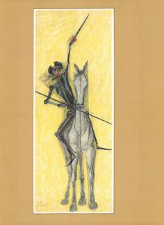 Large Don Quixote Illustration by Candido by CarambasVintage