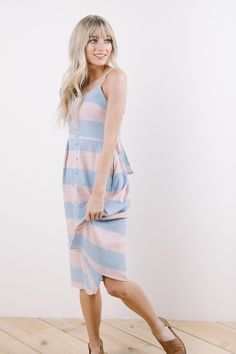 The Bella Donna Stripe Sun Dress in Pastel