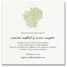 Large White Square Letterpress Succulent Wedding Invitations with Celery Green Painted Edge, Style Me Pretty by William Arthur