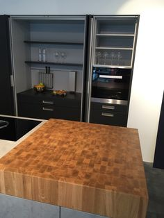 Vintage Production of a butcher block out of solid oak for a kitchen