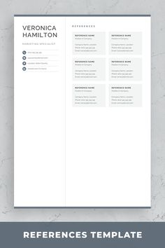 Professional resume template set with one-page and two-page resume designs with matching cover letter and references sheet for a complete and consistent presentation. One Page Resume Template, Modern Resume Template, Creative Resume Templates, Creative Cv, Cover Letter For Resume, Cover Letter Template, Good Resume Examples, Resume Ideas, Resume References
