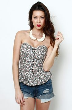 LoveMelrose.com From Harry & Molly | Floral Button Front Bustier Top- Black/ Tan/ Pink - FITTED+TUBE - TOPS