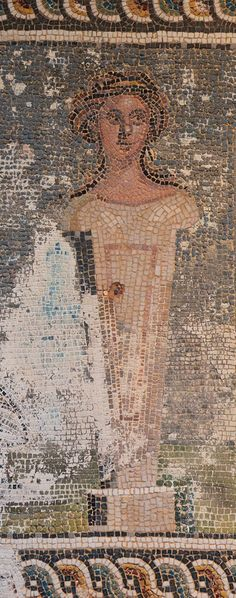 https://flic.kr/p/jHJfBX | Detail of a mosaic depicting a deceased person beside the bust of Sappho, from the tombstone of Aurelius Aurelianus, 3rd Century AD, Split Archaeological Museum