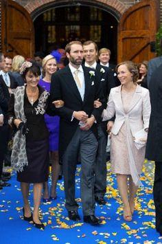 (L-R) Princess Maria Teresa of Bourbon-Parma, Tjalling ten Cate and his wife Princess Margarita of Bourbon-Parma attends the wedding of Prince Jaime of Bourbon-Parma