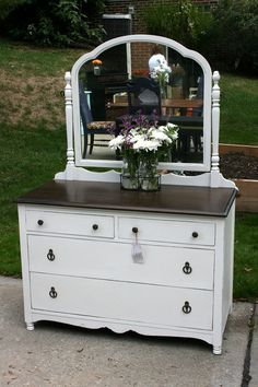 Petite White Dresser with Mirror by RootsWingsFurniture on Etsy
