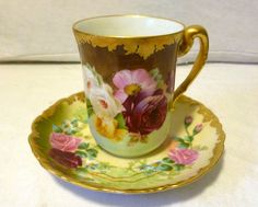 T&V Limoges Hand Painted Chocolate Cup&Saucer w/ Pink Roses&Gold Detail - 2 Mark