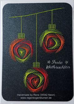 Weihnachten - Fadengrafik Grußkarten Set W042 NEON Weihnachten - ein Designerstück von Bastelfan1809 bei DaWanda