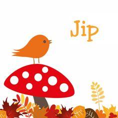 herfst seizoen geboortekaartje met vogel - Geboortekaartjes - Kaartje2go
