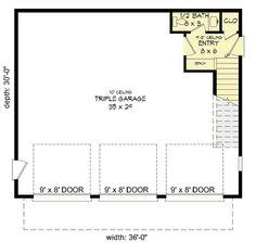 Plan 3 Car Modern Carriage House Plan With Sun Deck Garage Apartment Floor Plans, Garage Plans With Loft, Garage Floor Plans, House Floor Plans, Garage Apartments, Modern House Plans, Small House Plans, Modern Garage, Deck Design Plans