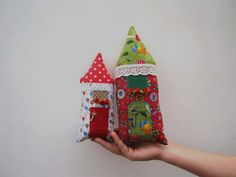 These two sweet little houses with embroidered, can hang anywhere. They make a unique gift for any occasion.  Details: Big house - 9.8 inch / 4.3 inch