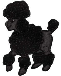 """Amazon.com: [Single Count] Custom and Unique (3"""" to 3 7/8"""" Inches) Left Facing Household Begging Pet Poodle Breed Iron On Embroidered Applique Patch {Black Color}"""