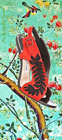 Manolo Blahnik ~ Summer Embroidered Red Suede Slingback Sandal 2015 via cynthia reccord