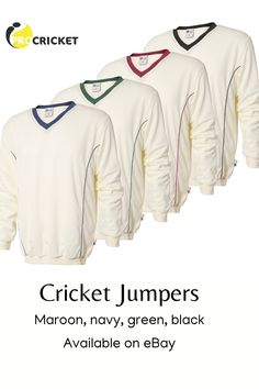 White cricket jumpers with navy, maroon, green or black trim. Warm fleece style lining and long sleeves Cricket Whites, Black Trim, Sportswear Brand, Jumpers, Brand New, Warm, Long Sleeve, Green, Sleeves