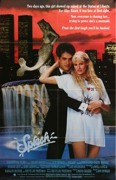 "Film: Splash (1984) Year poster printed: 1984 Country: USA Exact Size: 27""x 41"" This is a vintage one-sheet movie poster from 1984 for Splash starring Tom Hanks, Daryl Hannah, Eugene Levy and John Can"