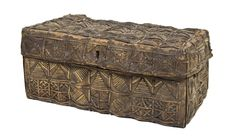 A Woven Hide Trunk,  the rectangular lid over a conforming case with two handles.