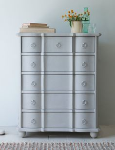 The wooden Otterley chest of drawers is hand-painted for a lovely vintage, shabby chic feel. This French-inspired beauty comes with stacks of storage and looks perfect in the bedroom.