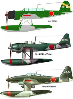 The Aichi Allied reporting name 'Jake', was a long-range reconnaissance seaplane used by the Imperial Japanese Navy (IJN) from 1941 to Navy Aircraft, Aircraft Photos, Ww2 Aircraft, Fighter Aircraft, Aircraft Carrier, Military Aircraft, Fighter Jets, Fighting Plane, Old Planes