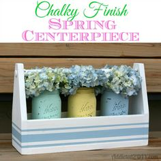 This centerpiece is gorgeous and so easy to make!  Plus it can double as a silverware caddy!