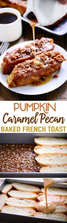 This Pumpkin Caramel Pecan Baked French Toast recipe is irresistibly good and is perfect for serving to overnight guests or at a holiday brunch! I think this would be a heavenly breakfast for Thanksgiving morning. Best breakfast ideas.