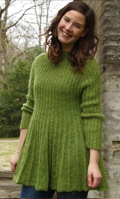 Free Knitting Pattern for Bretagne Pullover - Rachel S gaard s easy long-sleeved pullover sweater features a flattering skirt that can be worn as a tunic or lengthened to a dress Available in English Free Knitting Patterns For Women, Sweater Knitting Patterns, Knitting Designs, Knitting Sweaters, Knitting Dress Pattern, Easy Knitting, Skirt Pattern Free, Tunic Pattern, Free Pattern