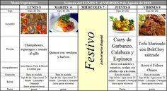 Menú Vegetariano del 5 al 9 de Agosto de 2013
