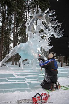 """Junichi Nakamura, Japan, works on the antlers of a caribou for the multi block sculpture titled """"White Fang"""" for the 2009 World Ice Art Championships in Fairbanks, Alaska. Snow Sculptures, Sculpture Art, Fairbanks Alaska, Ice Art, Ice Castles, Snow Art, Snow And Ice, Winter Wonderland, Amazing Art"""