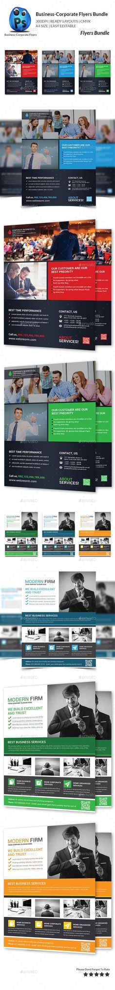 Buy Business Flyer Template Bundle by afjamaal on GraphicRiver. This flyer is made in photoshop the files included are help file and photoshop psd'. Corporate Flyer, Corporate Business, Business Branding, Business Flyers, Psd Flyer Templates, Business Flyer Templates, Print Templates, Flyer And Poster Design, Flyer Design