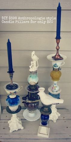 Southern Belle Soul, Mountain Bride Heart: DIY Anthropologie style trinket candle pillars (DIY eclectic candle holders) I just bought some like this from a local boutique. Eclectic Candles, Diy Projects To Try, Craft Projects, Diy And Crafts, Arts And Crafts, Do It Yourself Furniture, Decoration Christmas, Pillar Candles, Diy Home Decor