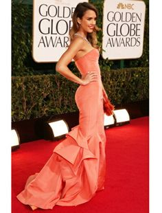Jessica Alba looks flawless as ever in coral.
