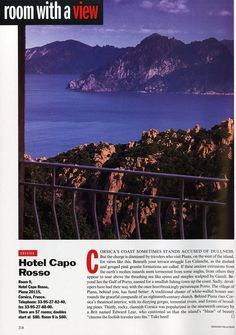"25 Years of ""Room with a View"" Photos : Condé Nast Traveler::  ROOM 9  CORSICA, FRANCE  May 1994"