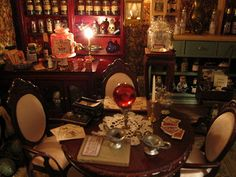 meljika: by Gayle Palama Haunted Dollhouse, Haunted Dolls, Dollhouse Miniatures, Haunted Circus, Witch Room, Halloween Miniatures, All The Small Things, Witch House, Fairy Houses