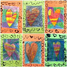 Kindergarten Warm/Cool Colors Jim Dine Batik Hearts