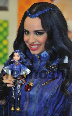 Disney's Descendants' Sofia Carson (Evie) with her Evie Doll