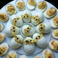 I did a pinterest recipe! Deviled egg baby chicks!