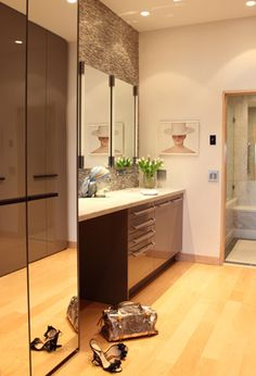 including zero step shower, sit under vanity, storage. Tewes Design ...