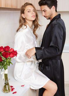 Mens Silk Pajamas, Satin Pajamas, Pyjamas, Night Wear Lingerie, Silk Robe Long, Peignoir, Rain Wear, Mulberry Silk, Guys And Girls