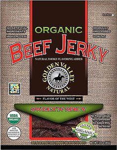Golden Valley Natural Organic Beef Jerky Sweet 'n Spicy Organic Garlic, Organic Beef, Organic Snacks, Organic Recipes, Clean Recipes, Snack Recipes, Shrimp Recipes, Healthy Snacks List