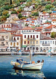 Gythio , Peloponnese, Greece( by Pantelis Zografos ) Watercolor Sketch, Watercolor Landscape, Watercolor Paintings, Watercolours, Ceramic Wall Art, Tile Art, Wall Tile, Pays Europe, Myconos